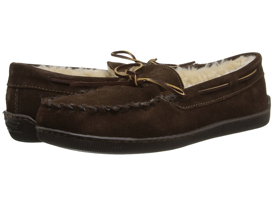 Minnetonka Pile Lined Hardsole (Chocolate Suede) Men's Shoes