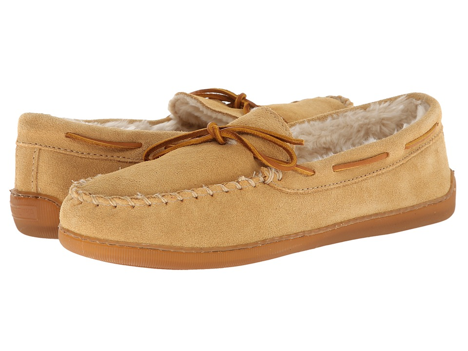 Minnetonka Pile Lined Hardsole (Tan Suede) Men's Shoes
