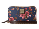 Dooney & Bourke Cabbage Rose Zip Around Credit Card Phone Wristlet