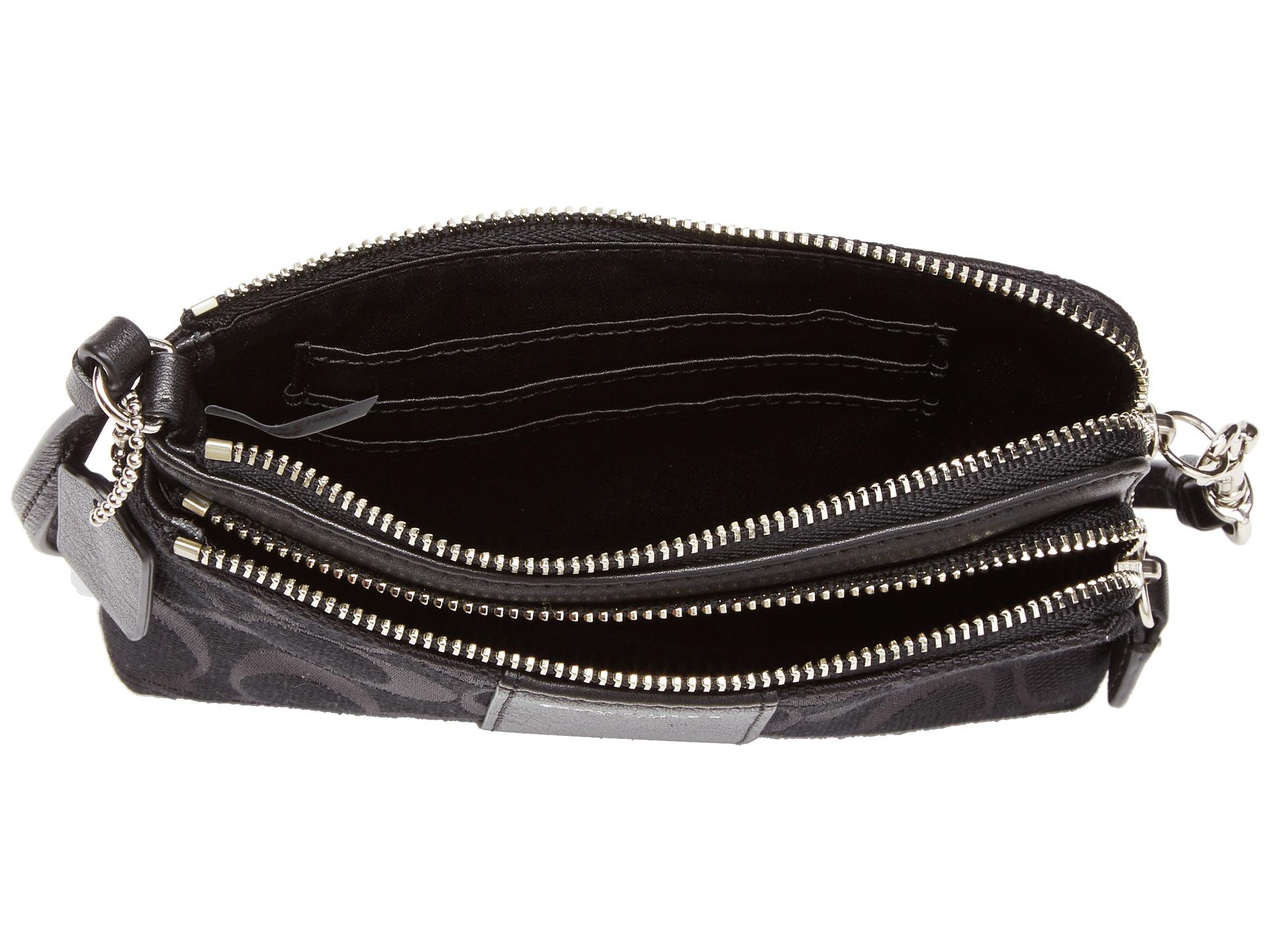 coach legacy signature double zip wristlet silver black