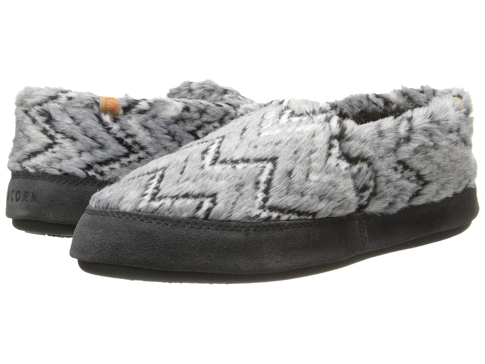 Acorn Acorn Moc Grey Zig Zag Womens Moccasin Shoes