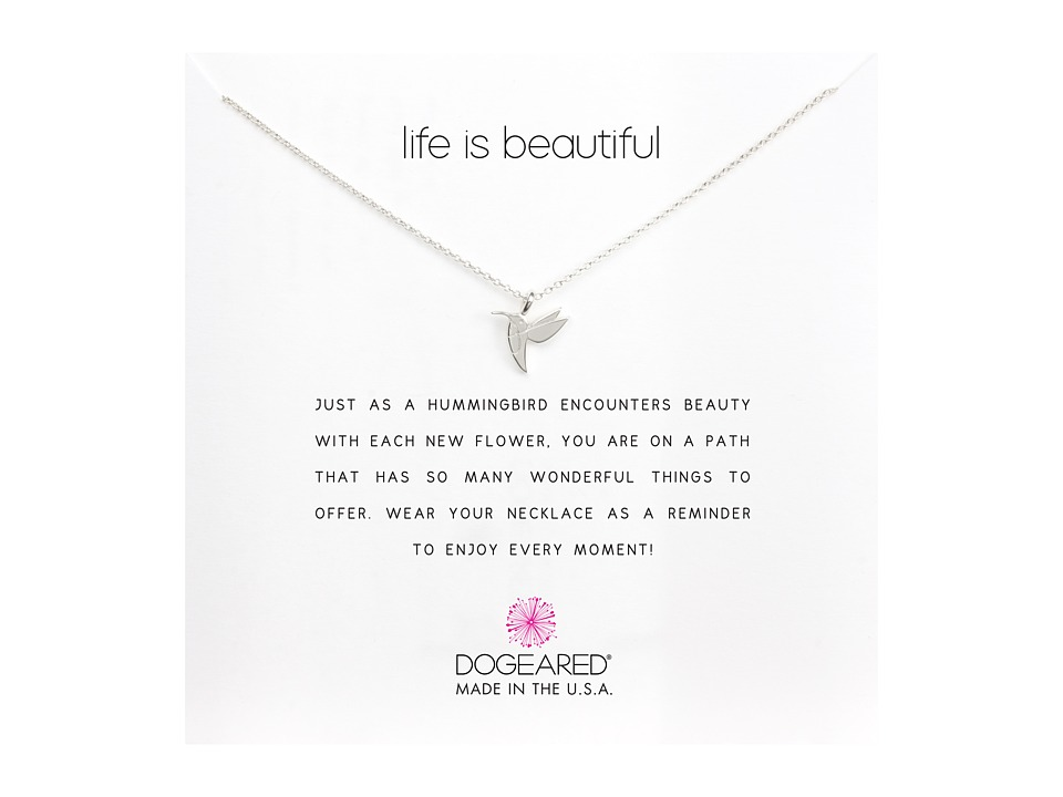 Dogeared Life is Beautiful Hummingbird Reminder Silver Necklace