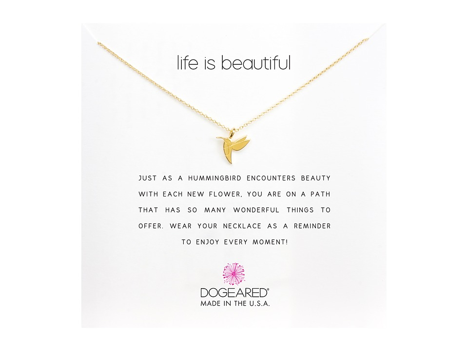 Dogeared Life is Beautiful Hummingbird Reminder Gold Necklace