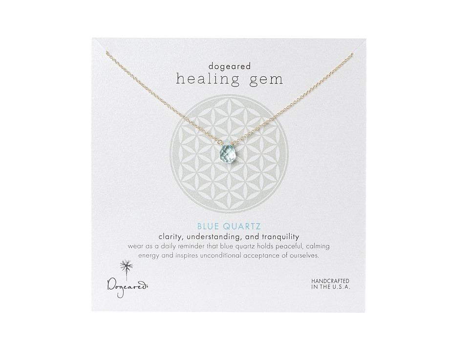 Dogeared Healing Gem Blue Quartz Necklace Gold Necklace