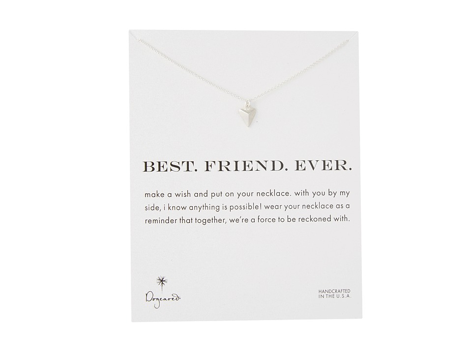 Dogeared Best. Friend. Ever. Pyramid Heart Reminder Silver Necklace