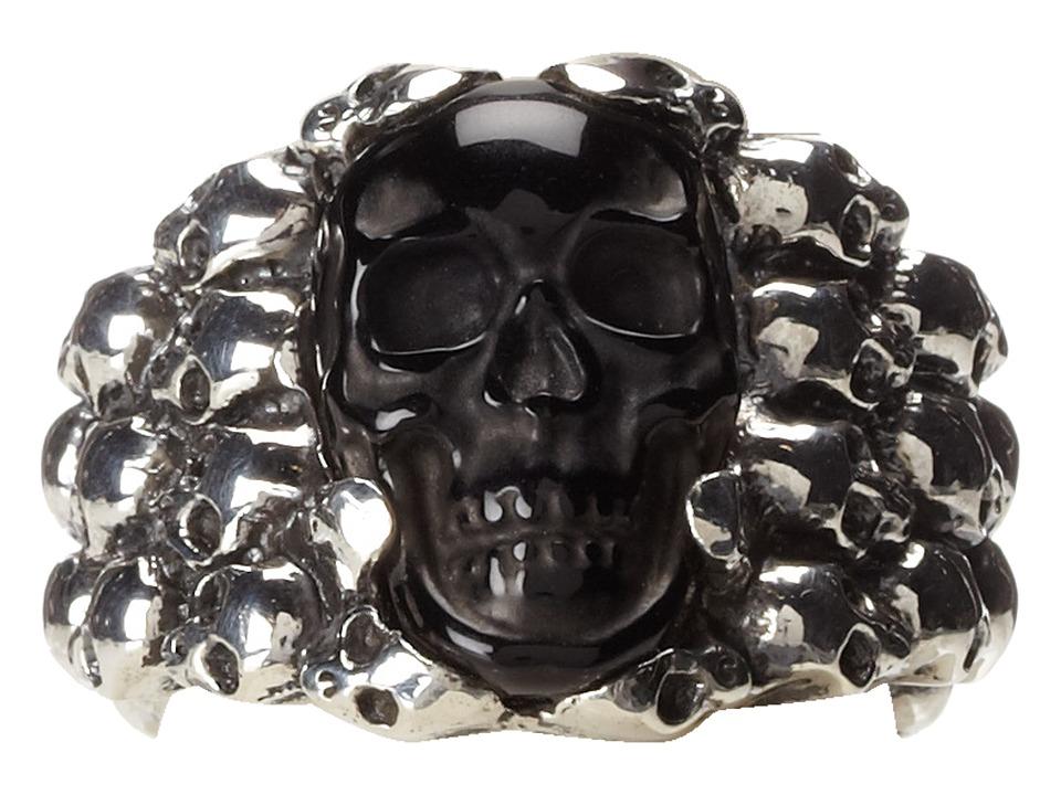 King Baby Studio - Rainbow Obsidian Carved Skull in Silver Skull Frame
