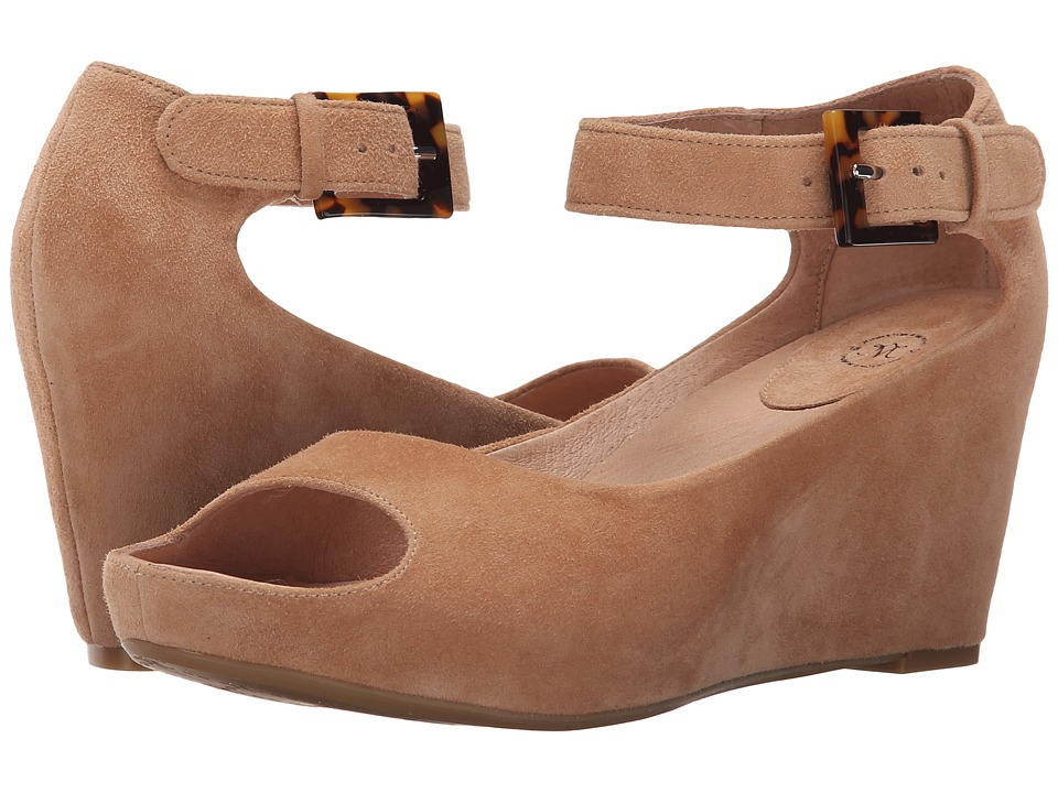 Johnston & Murphy - Tricia Ankle Strap (camel Glove Suede) Womens Wedge Shoes