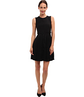 RED VALENTINO - Cady Tech Pleated Dress with Bow at Waist
