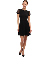 RED VALENTINO - Knit Dress with Point d'Esprit Puff Sleeve