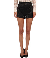 RED VALENTINO - Vintage Effect Leather Shorts