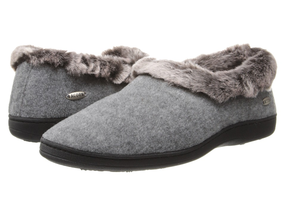 Acorn Faux Chinchilla Collar (Stone) Slippers
