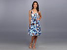 Donna Morgan - V-Neck Dress With Full Length Skirt (Blue/Sun Kiss Multi)