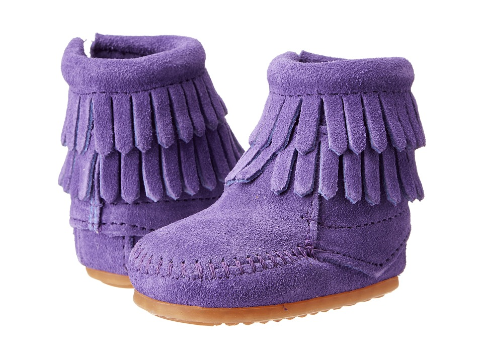 Minnetonka Kids Double Fringe Side Zip Bootie Infant/Toddler Purple Suede Girls Shoes