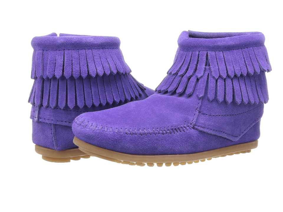 Minnetonka Kids Double Fringe Side Zip Toddler/Little Kid/Big Kid Purple Suede Girls Shoes