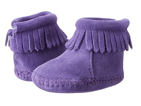 Minnetonka Kids Suede Back Flap Bootie (Infant/Toddler) - Purple Suede