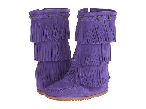 Minnetonka Kids 3-Layer Fringe Boot (Toddler/Little Kid/Big Kid) - Purple Suede