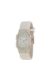 Philip Stein - Small Signature Double Diamond Stainless Steel Watch on White Metallic Lizard Strap