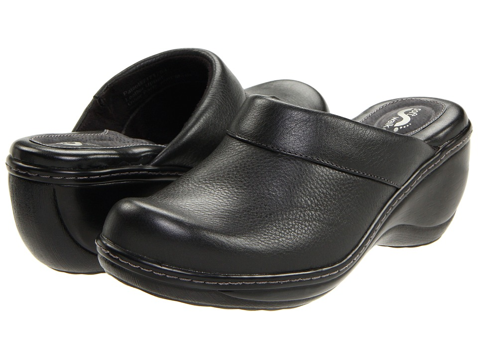 SoftWalk Murietta Black Leather Womens Clog Shoes