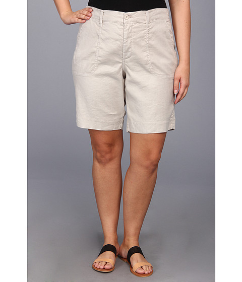 NYDJ Plus Size - Plus Size Catherine Short Linen-Blend (Sand Dollar) - Apparel