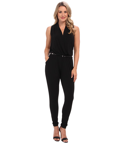 michael michael kors sleeveless belted jumpsuit clothing women at. Black Bedroom Furniture Sets. Home Design Ideas