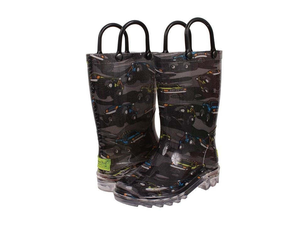 Western Chief Kids Monster Crusher Lighted Rainboot Toddler/Little Kid Charcoal Boys Shoes