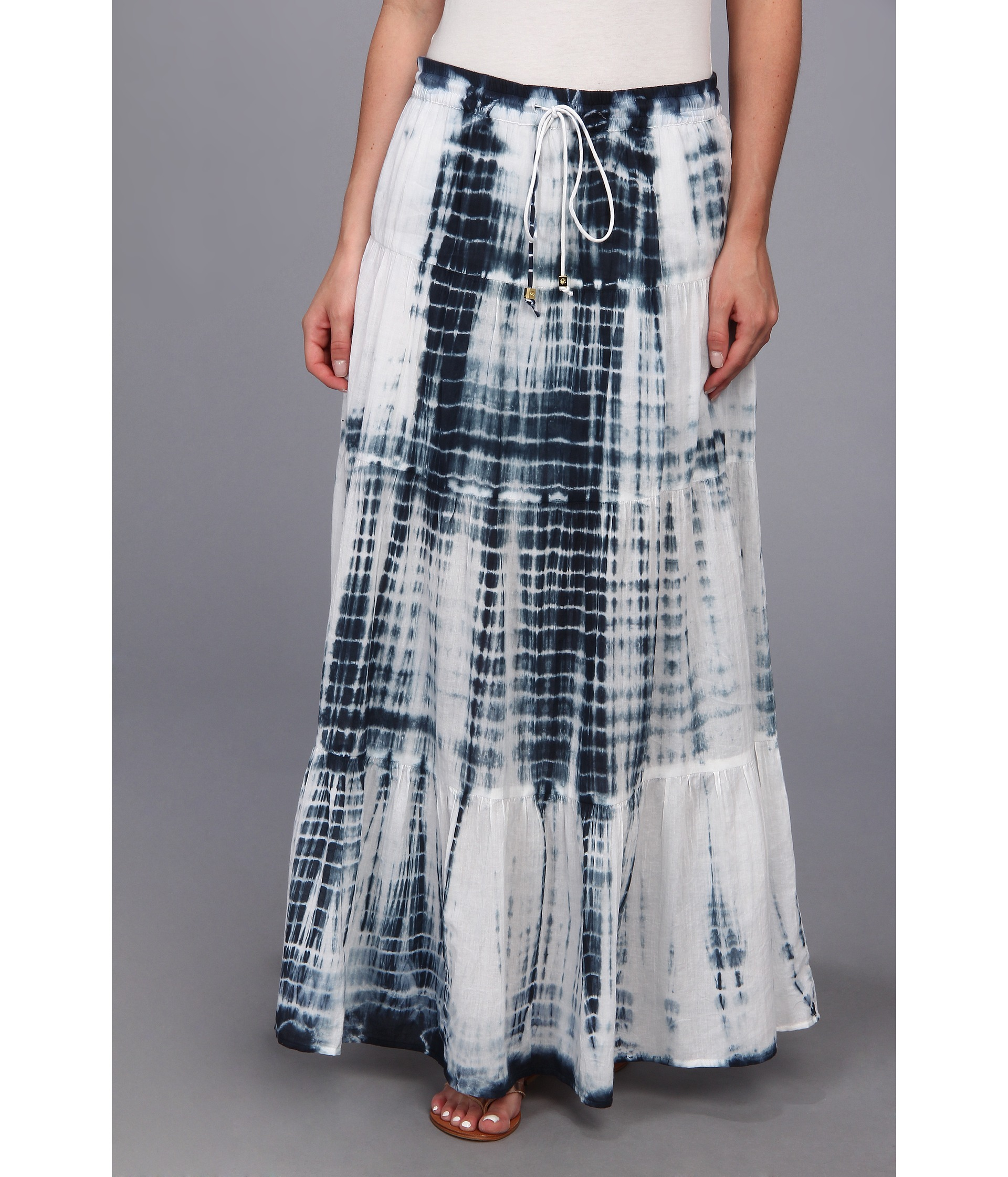 michael michael kors tiered maxi skirt navy shipped free