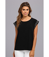 MICHAEL Michael Kors - Stud Sleeve Pleated Solid Top