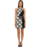 tibi - Floral Tapestry Jacquard Asymmetric Dress w/ Embossed Leather Panel