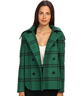 tibi - Evergreen Plaid Hooded Coat