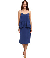 tibi - Solid Silk Cdc Strappy Ruffle Paneled Dress