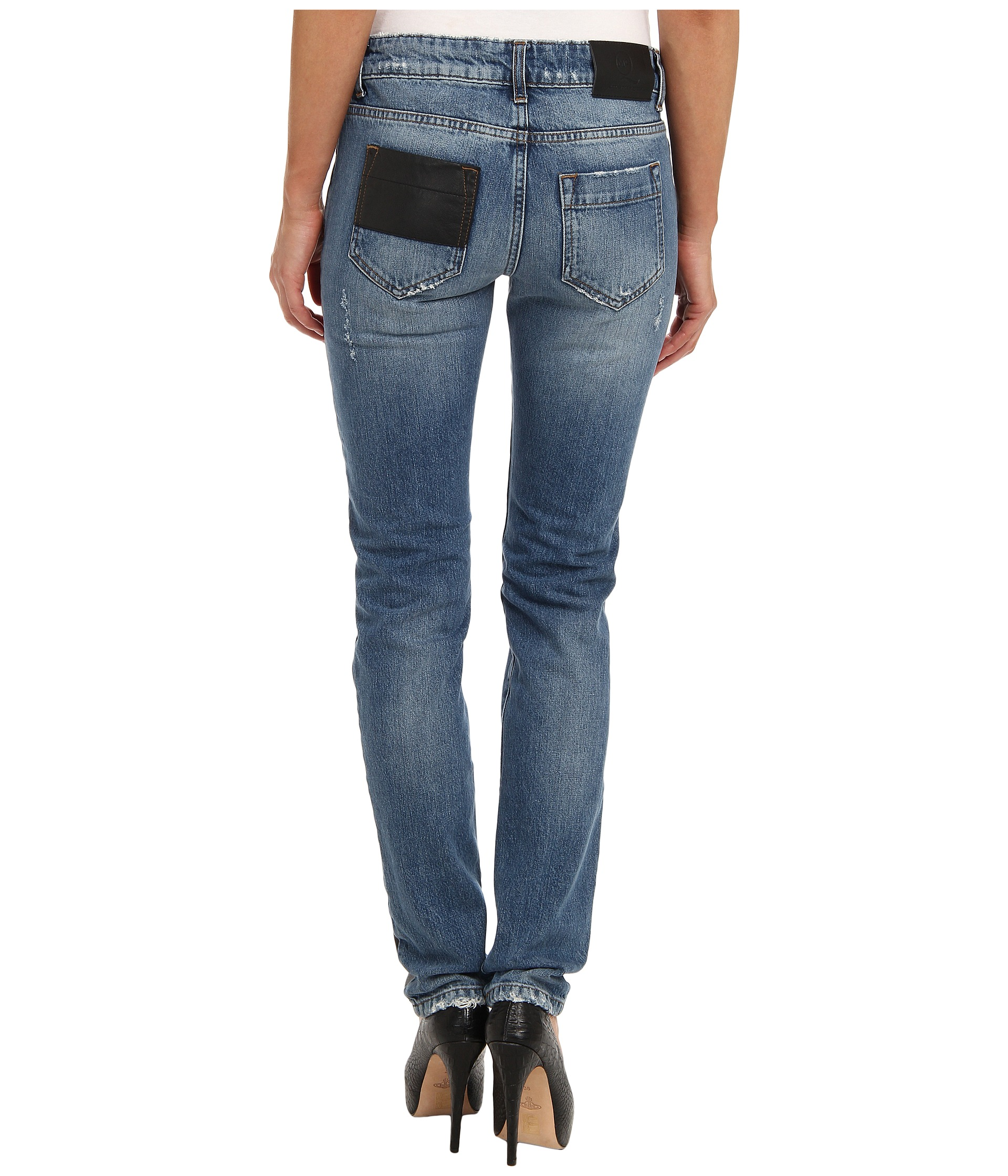 mcq hybrid low waist skinny jeans washed indigo shipped free at zappos. Black Bedroom Furniture Sets. Home Design Ideas