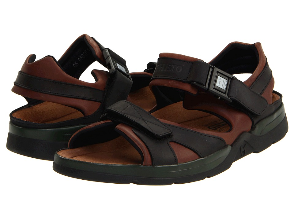 Mephisto - Shark (Dark Brown/Black Waxy Leather) Men's Sandals
