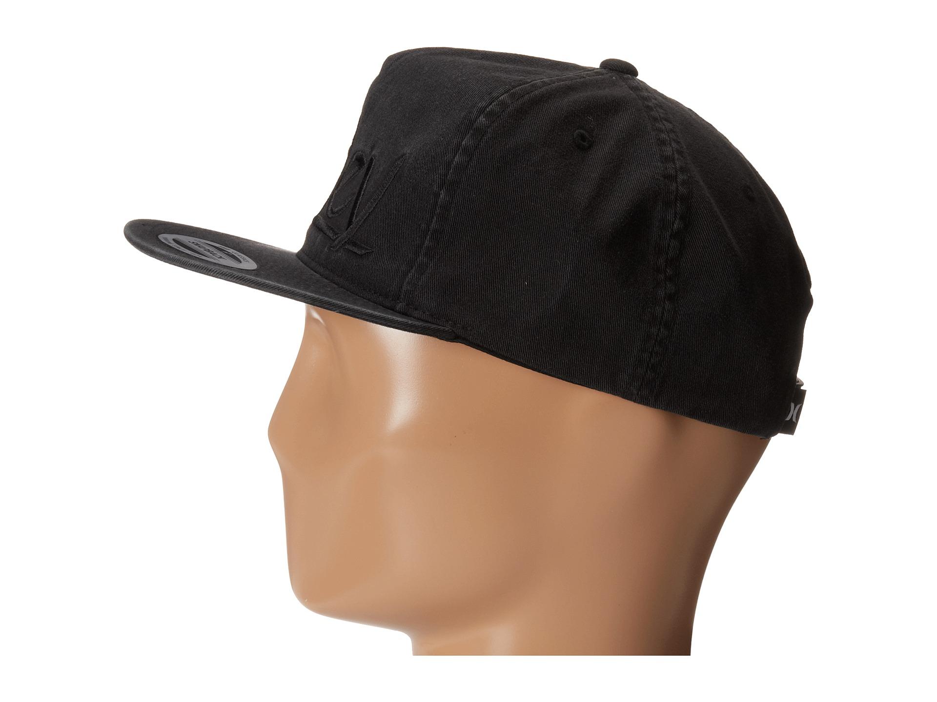 hurley original wash snapback hat black zappos free
