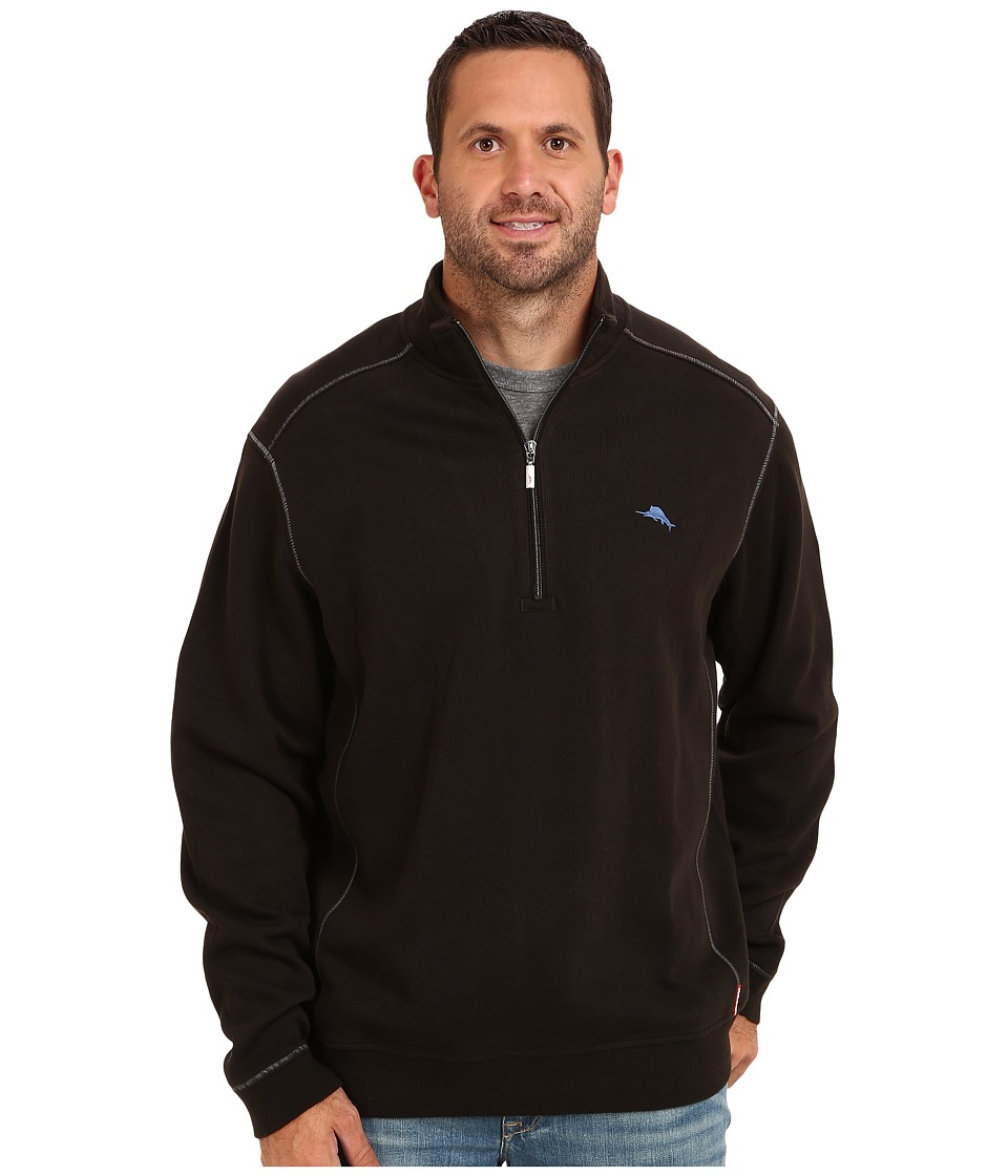 Tommy Bahama Big amp Tall Big Tall Antigua Half Zip Sweatshirt Black Mens Sweatshirt