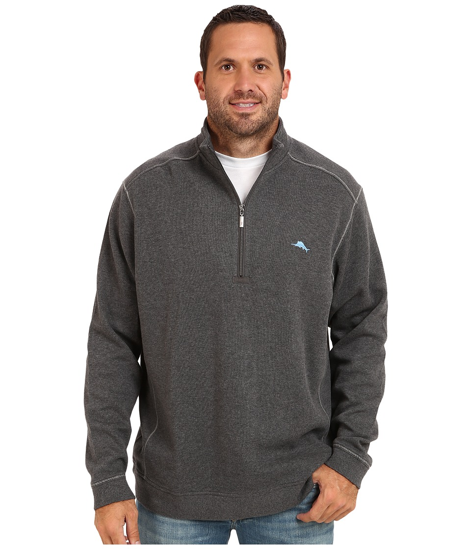 Tommy Bahama Big amp Tall Big Tall Antigua Half Zip Sweatshirt Charcoal Heather Mens Sweatshirt