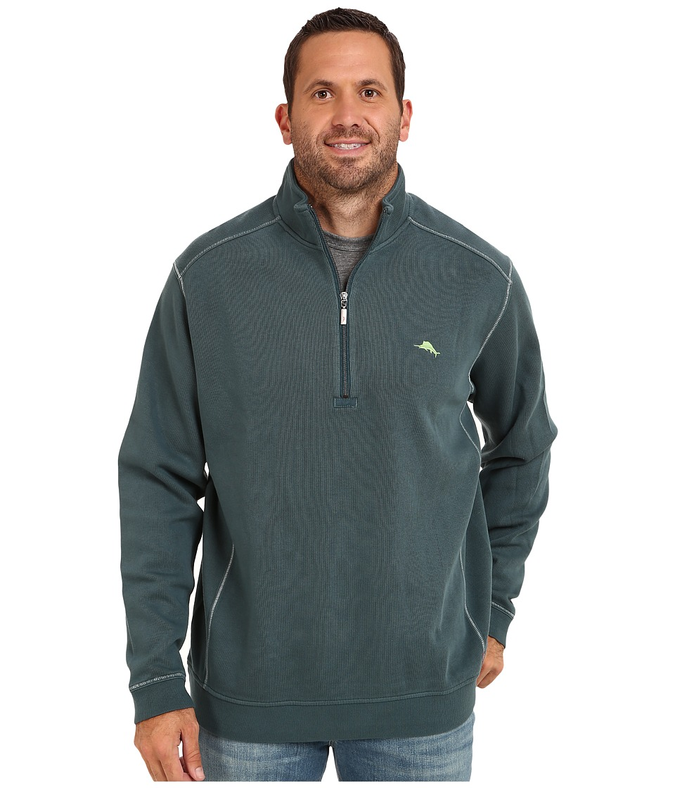 Tommy Bahama Big amp Tall Big Tall Antigua Half Zip Sweatshirt Dragonfly Blue Mens Sweatshirt