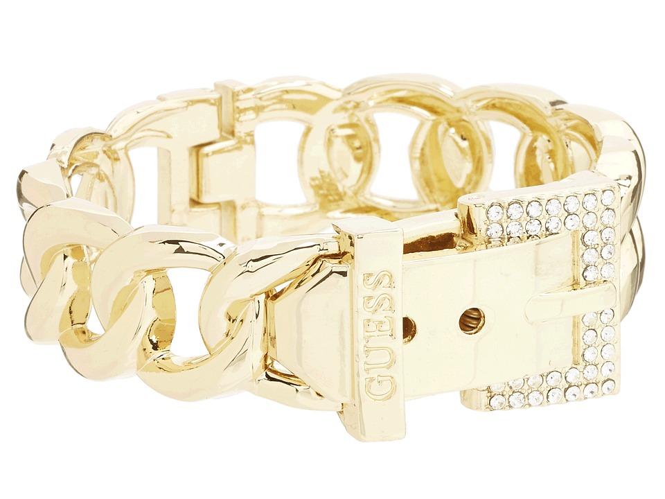 GUESS - Buckle Hinge Frozen Chain Bracelet w/ Pave Accent (Gold) Bracelet