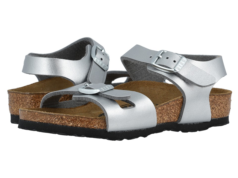 Birkenstock Kids Rio (Toddler/Little Kid/Big Kid) (Silver Birko-Flor ) Girls Shoes