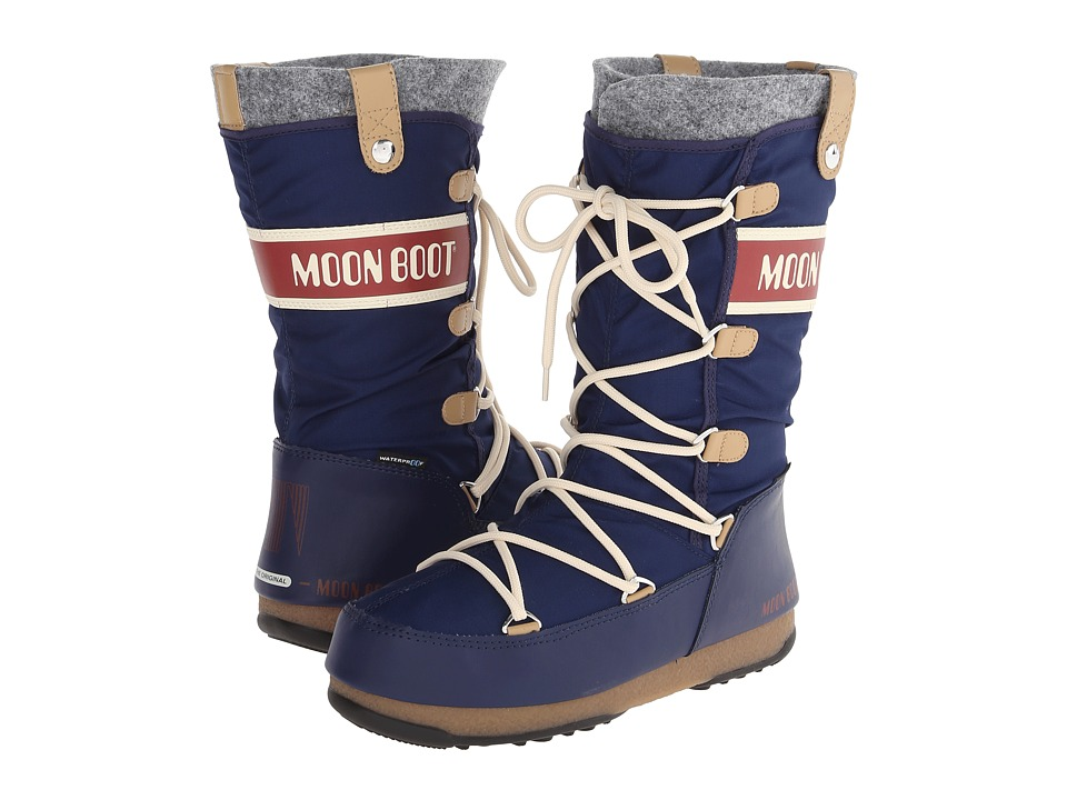 Tecnica Moon Boot Monaco Felt Blue Womens Cold Weather Boots
