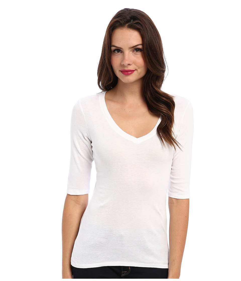 Michael Stars Supima Elbow Sleeve Vee Neck (White) Women