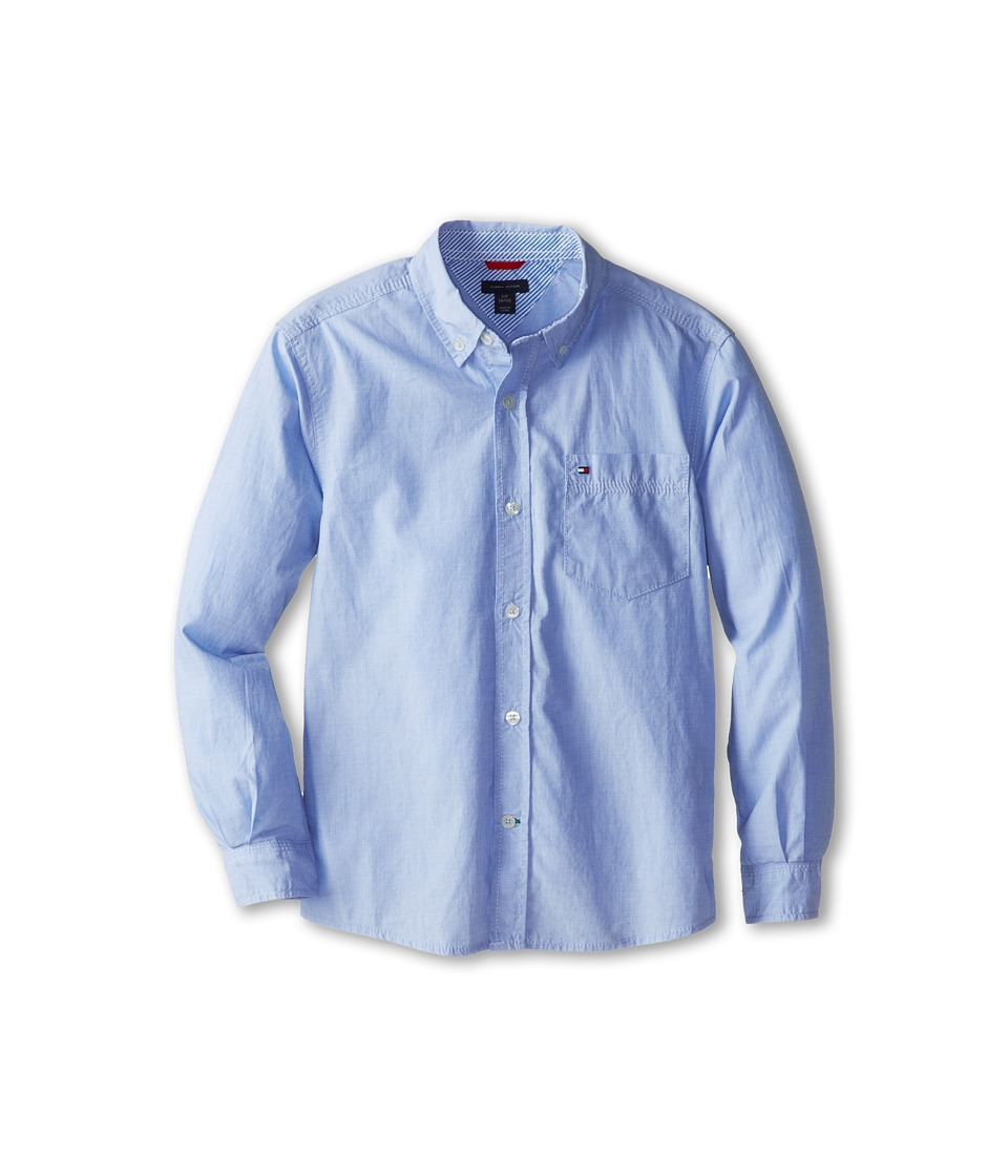 Tommy Hilfiger Kids - Vineyard End On End Shirt (Big Kids) (Summit Blue) Boys Long Sleeve Button Up