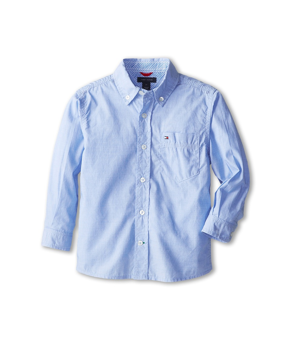 Tommy Hilfiger Kids - Vineyard End On End Shirt (Toddler/Little Kids) (Summit Blue) Boys Long Sleeve Button Up
