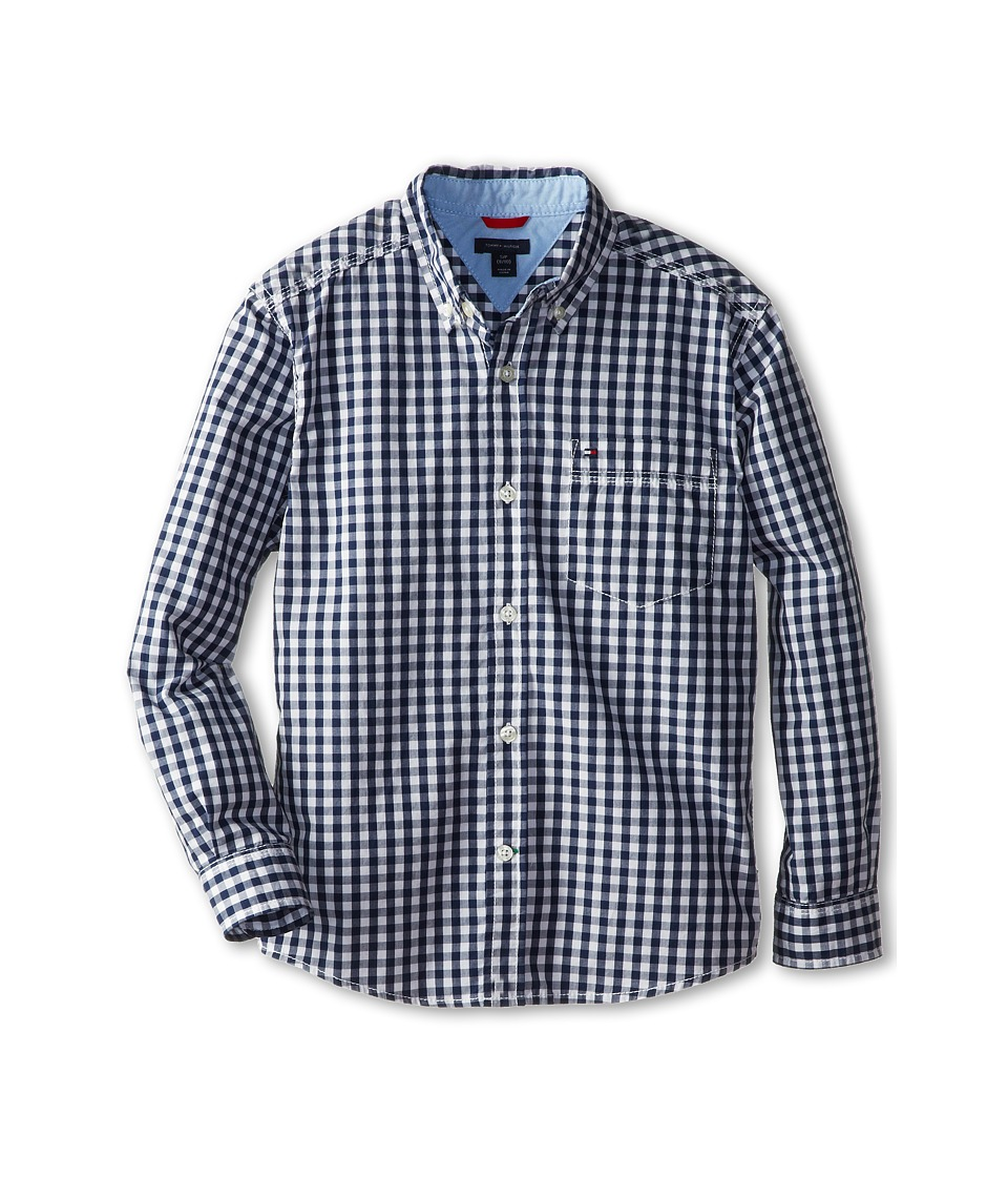 Tommy Hilfiger Kids - Baxter L/S Woven Shirt (Big Kids) (Flag Blue) Boys Long Sleeve Button Up