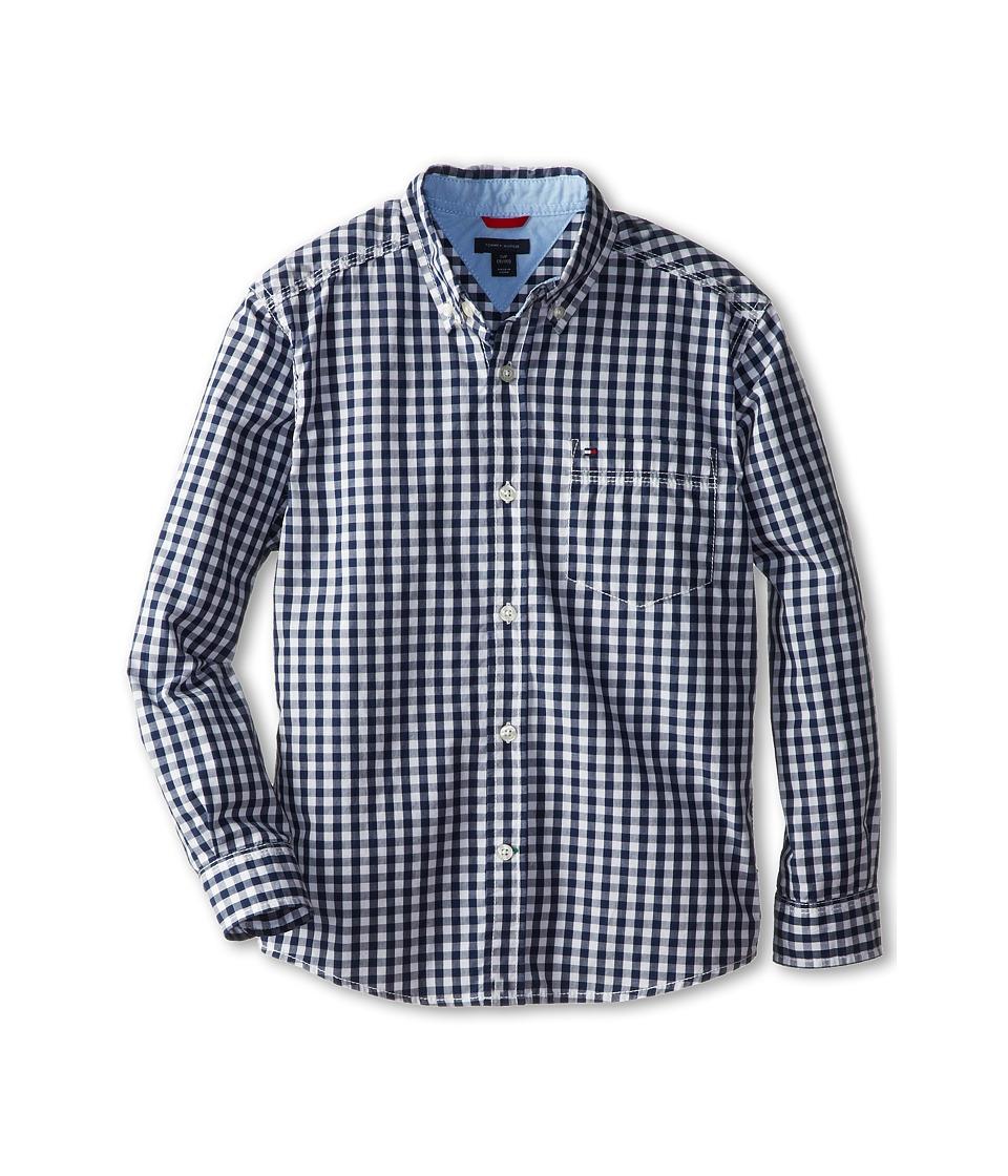 Tommy Hilfiger Kids Baxter L/S Woven Shirt Big Kids Flag Blue Boys Long Sleeve Button Up