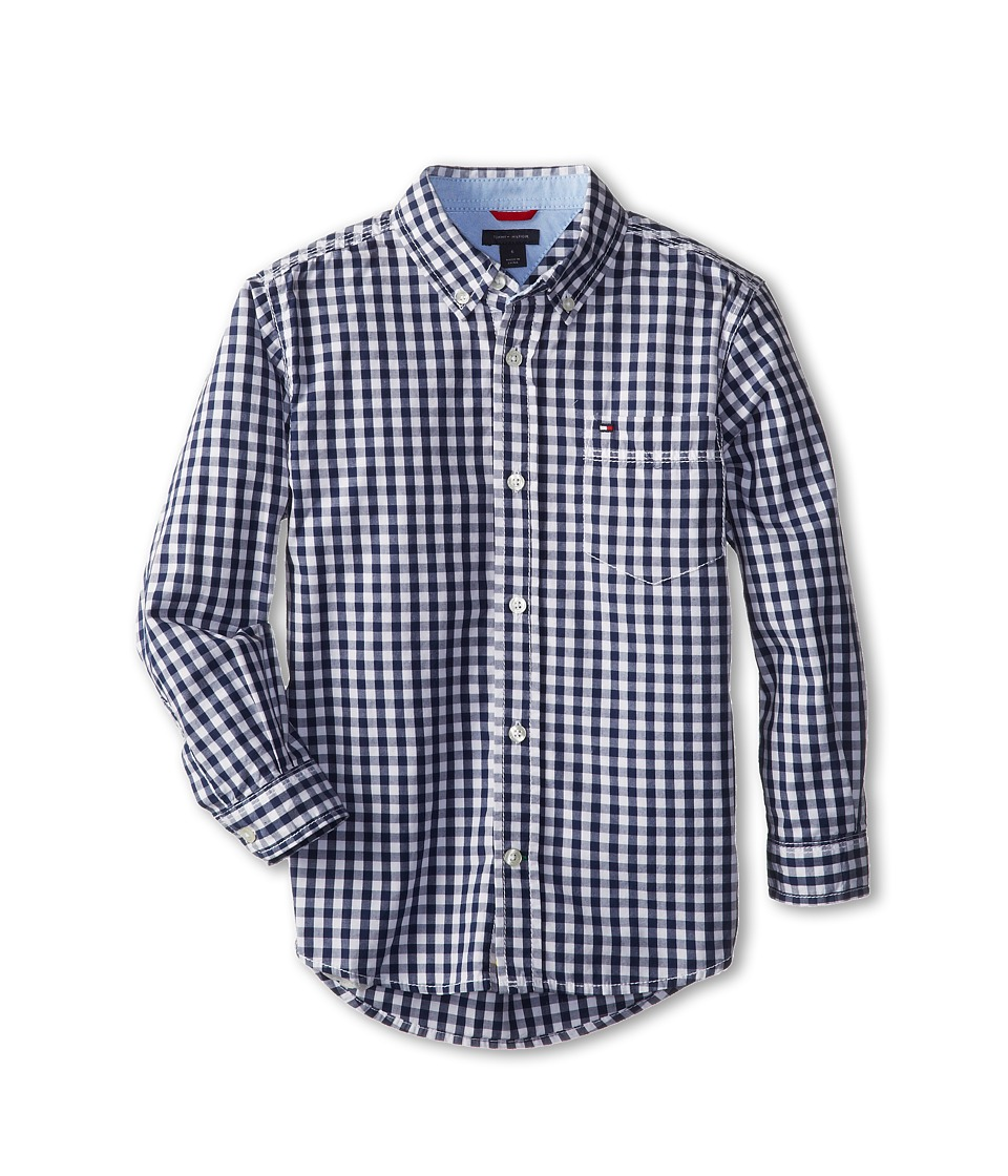 Tommy Hilfiger Kids - Baxter L/S Woven Shirt (Toddler/Little Kids) (Flag Blue) Boys Long Sleeve Button Up