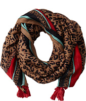 San Diego Hat Company - BSS1507OS Leopard Print Scarf w/ Pol Color Border and Tassels