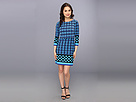 Donna Morgan - L/S Printed Matte Jersey Popover Dress (Blue/Turquoise Multi) - Apparel
