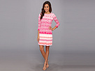 Donna Morgan - Lace-Print Matte Jersey w/ Sleeves (Pink/Orange Multi) - Apparel