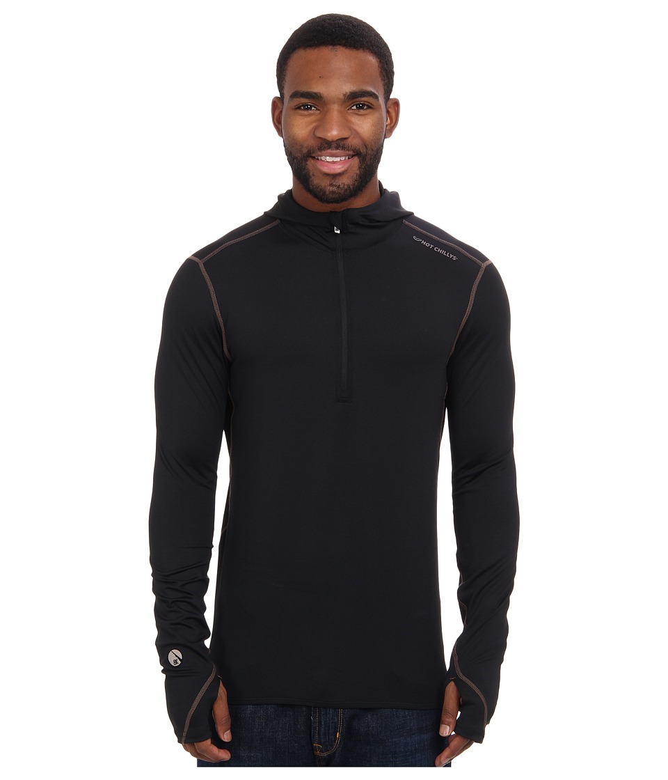 Hot Chillys Micro Elite Chamois 8K Hooded Zip Top Black Mens Long Sleeve Pullover
