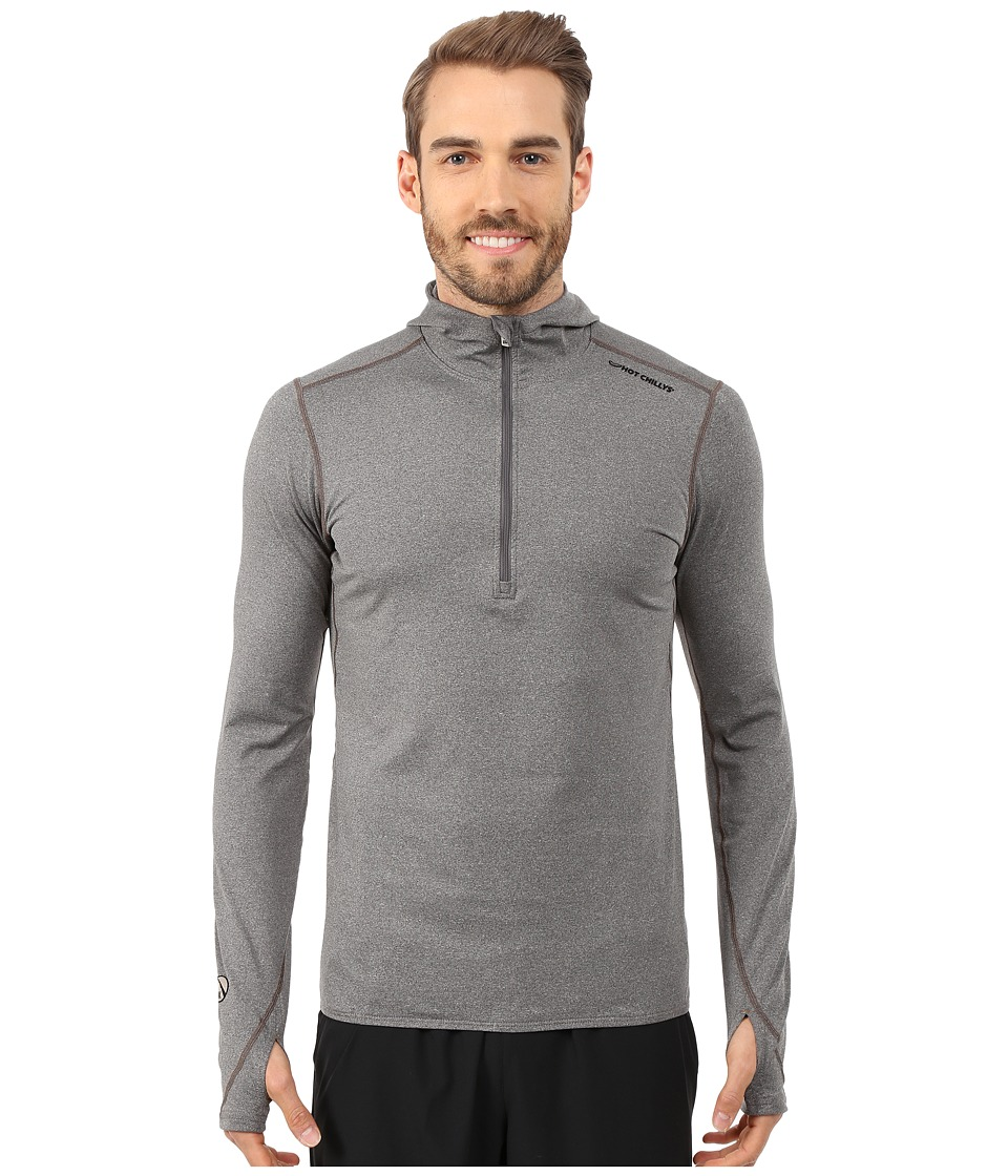 Hot Chillys Micro Elite Chamois 8K Hooded Zip Top Granite Mens Long Sleeve Pullover